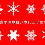 寒中見舞いテンプレート雪の結晶(赤)